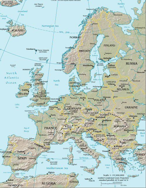 europe blank political map. hw political map Europe to